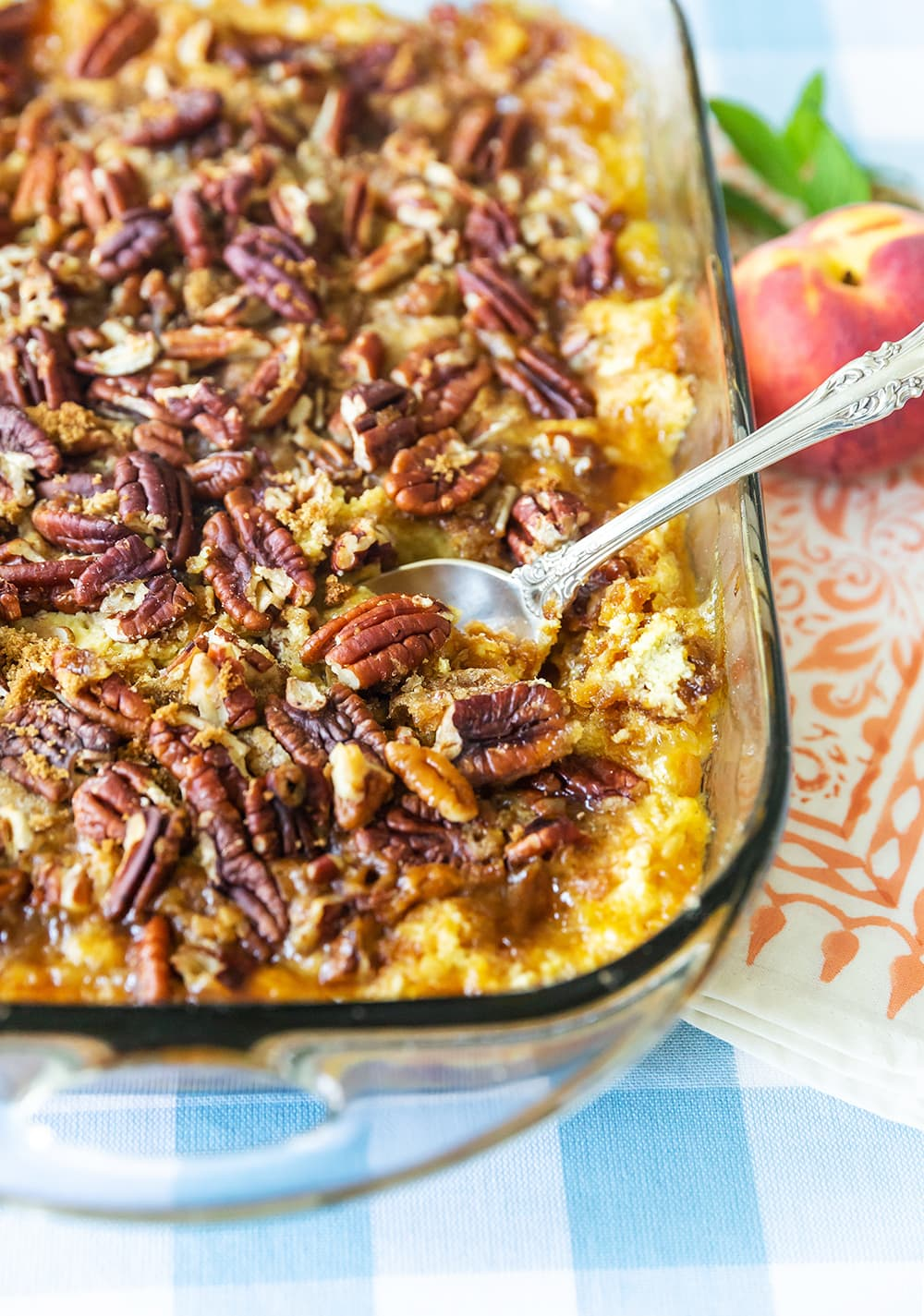 The BEST Peach Dump Cake with Pecans