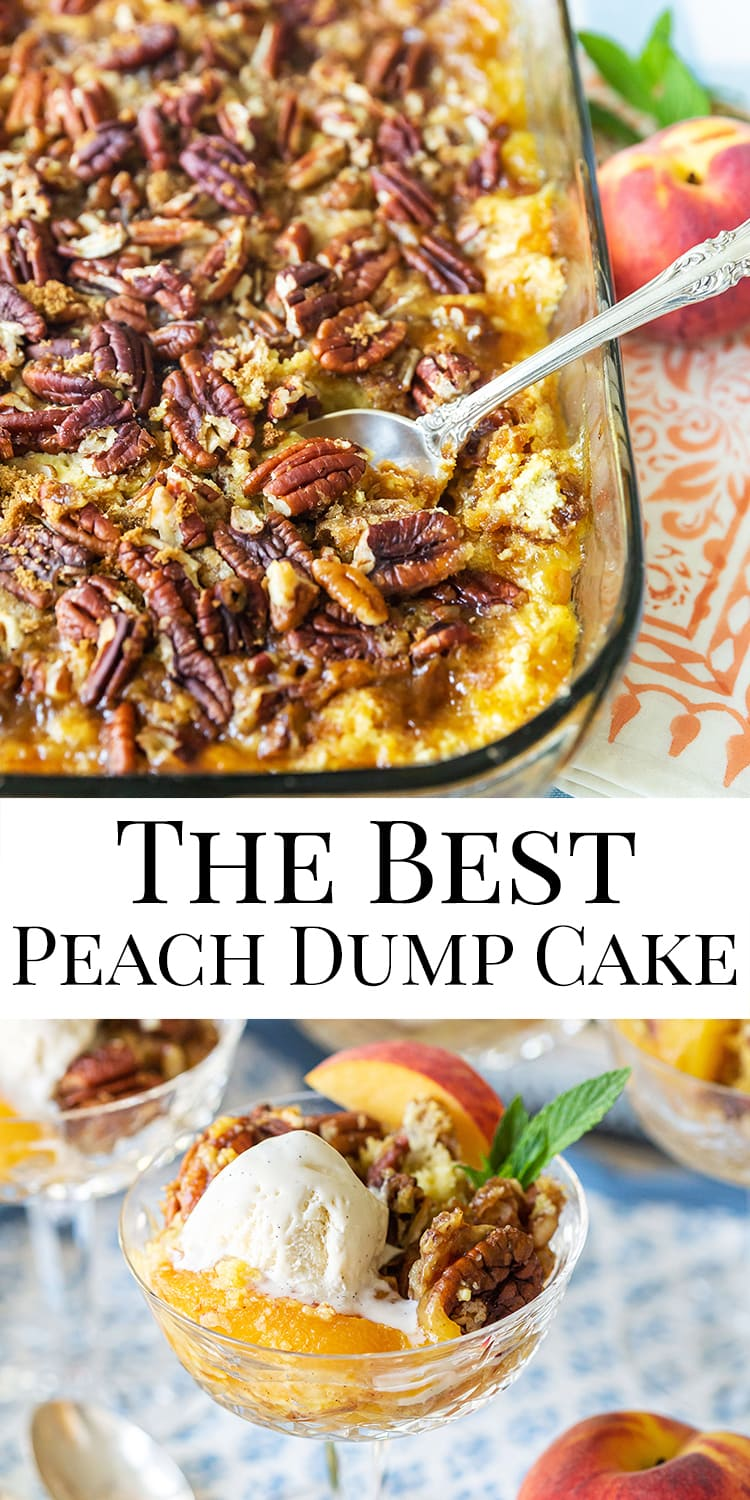 The Best Peach Dump Cake Recipe with Pecan Topping