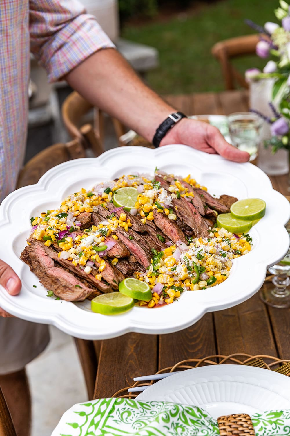 Grilled Skirt Steak topped with Corn Salsa