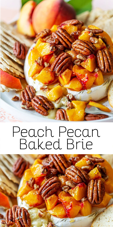 Easy Peach Pecan Baked Brie