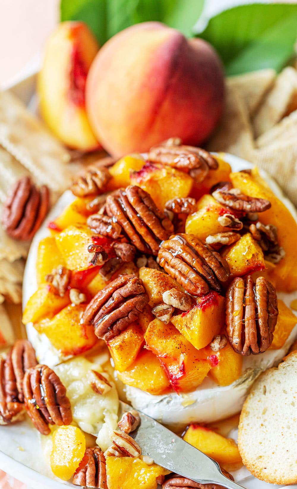Peach Pecan Baked Brie Appetizer