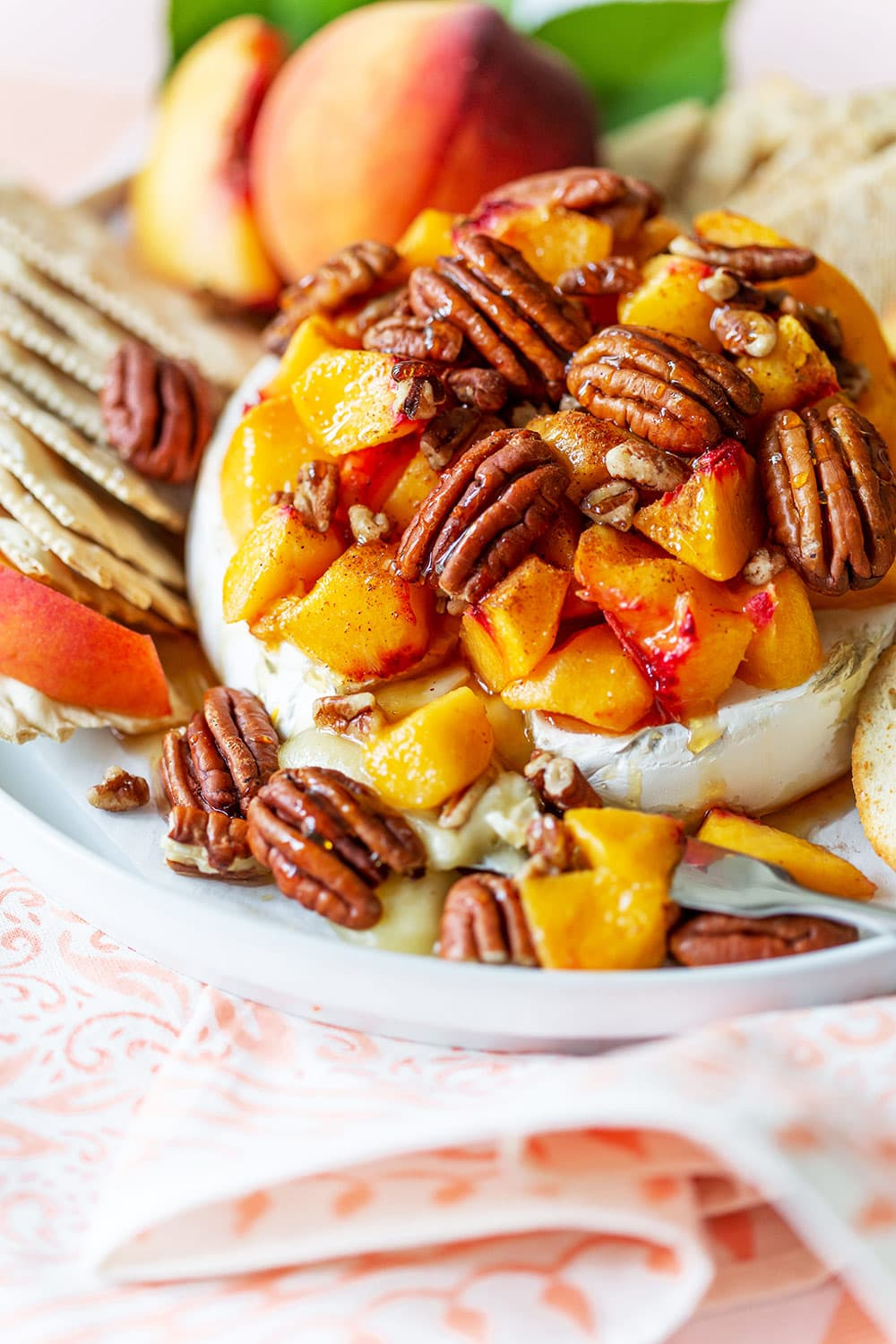 Peach Baked Brie with Pecans