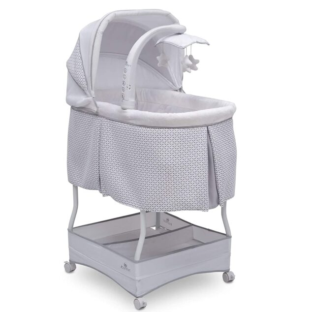 grey baby bassinet with hood