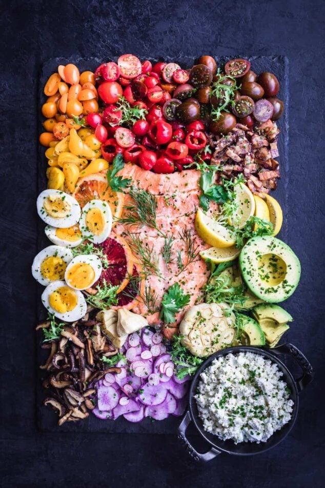 food board with salmon