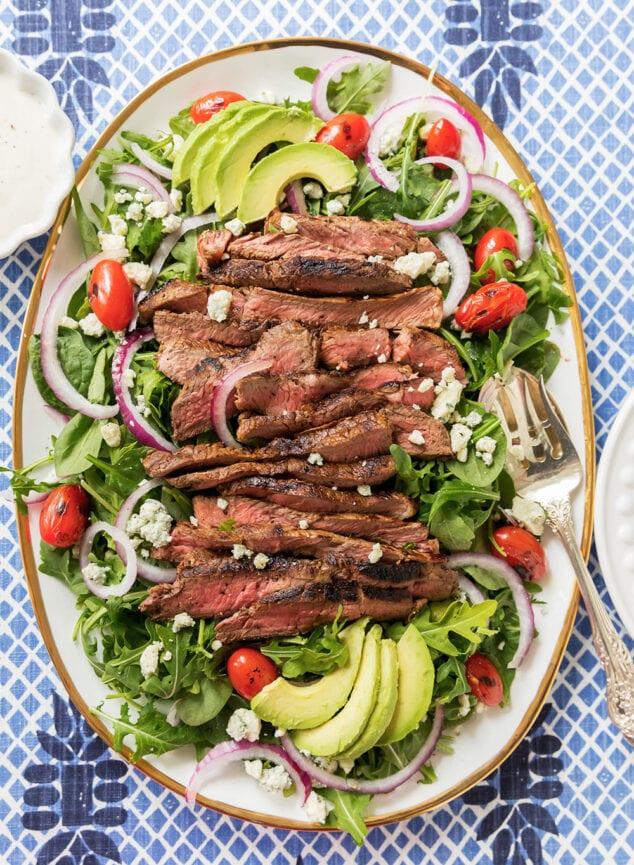 black and blue steak salad platter