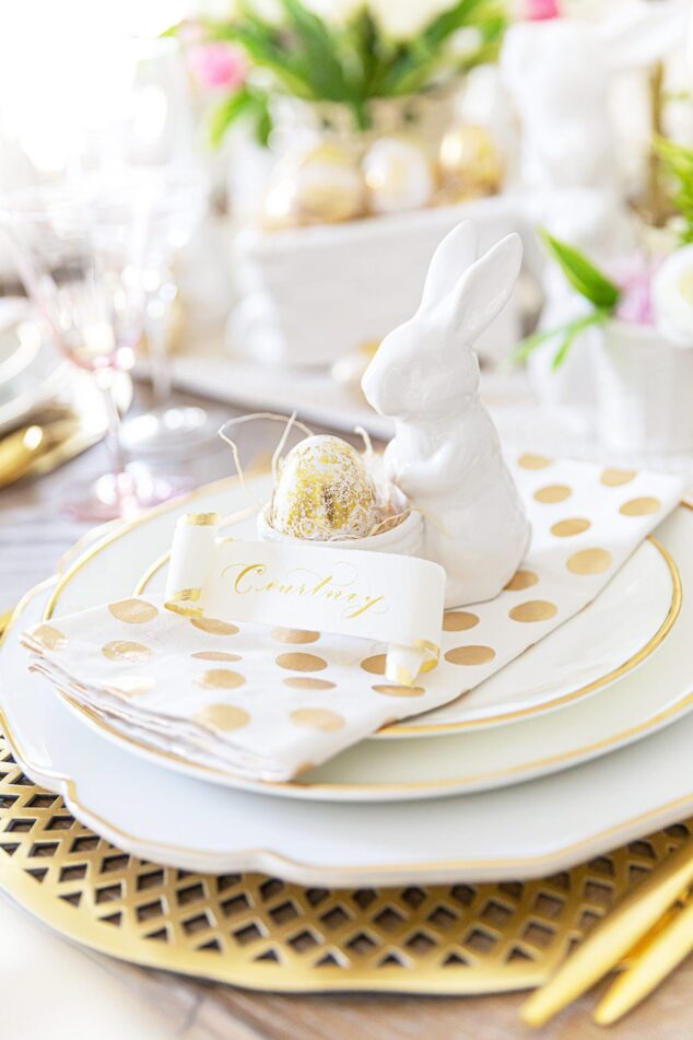 a close of up of easter decor on a plate