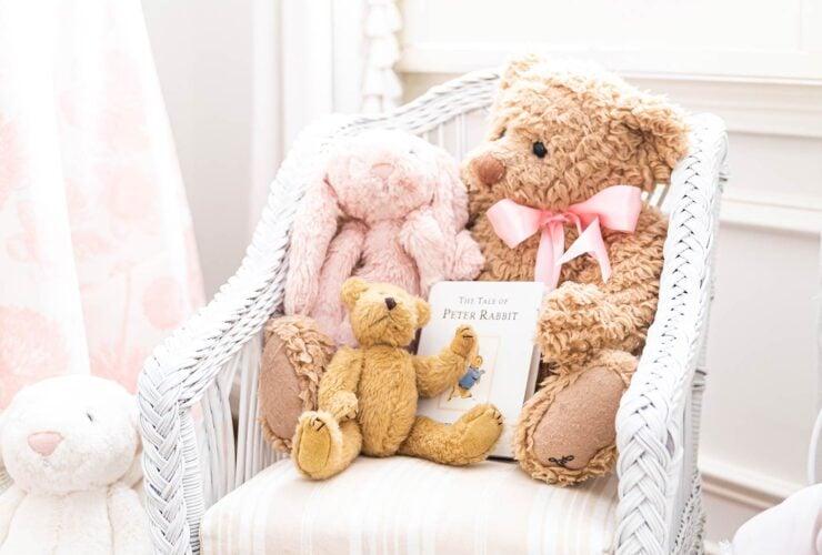 baby girl's nursery wicker chair
