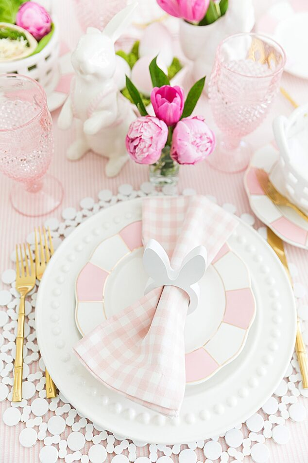 bunny napkin rings on pink and white easter place setting