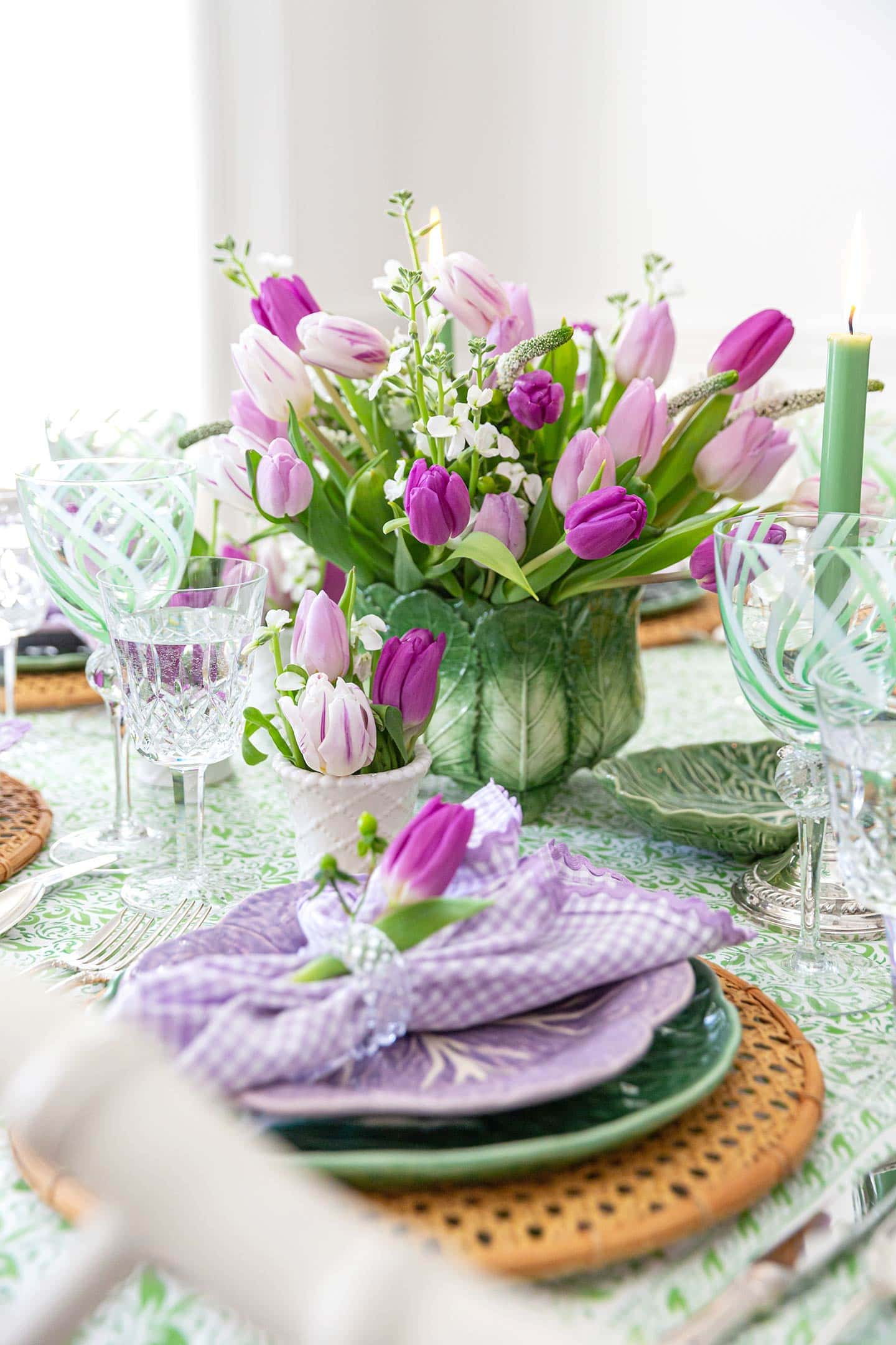 purple tulips on a green tablescape