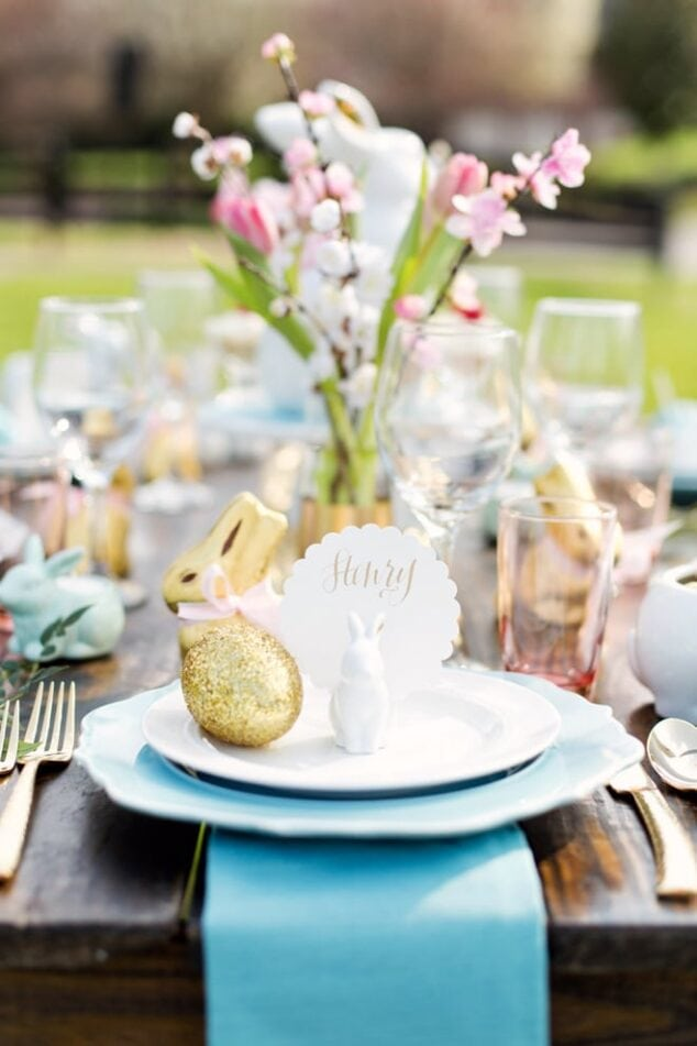 an easter themed place setting with bunny