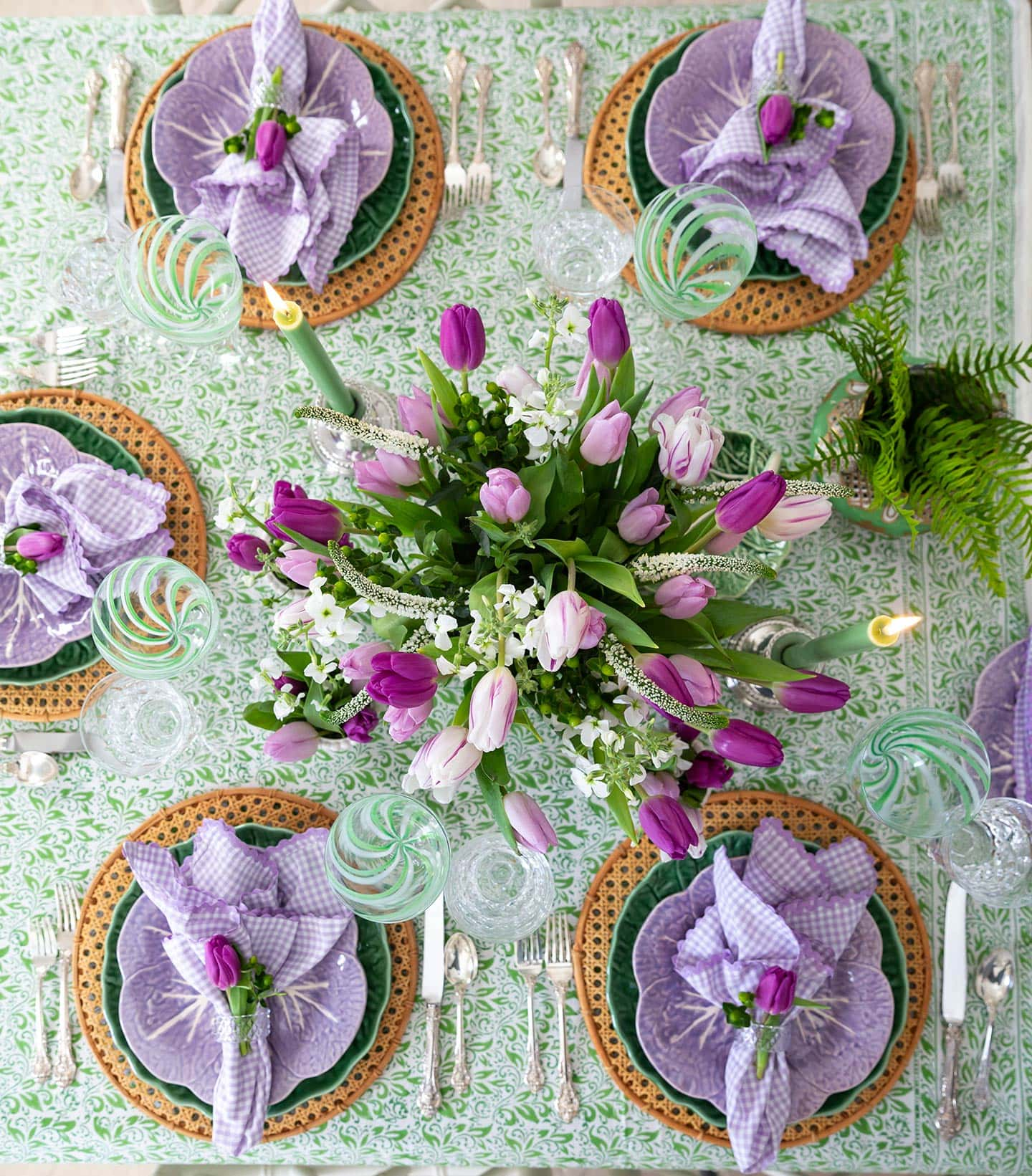purple and green table setting.