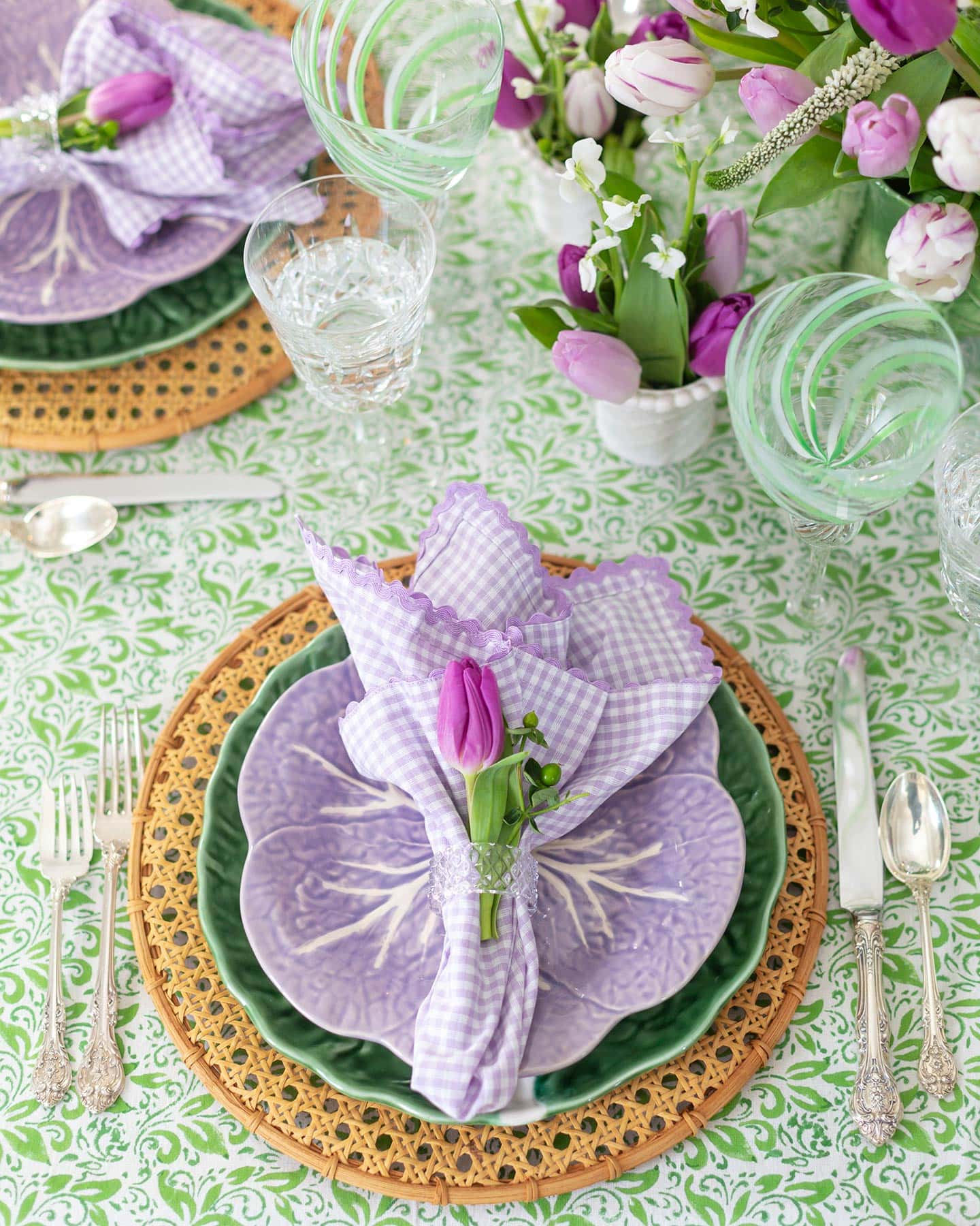 purple and green spring table setting.
