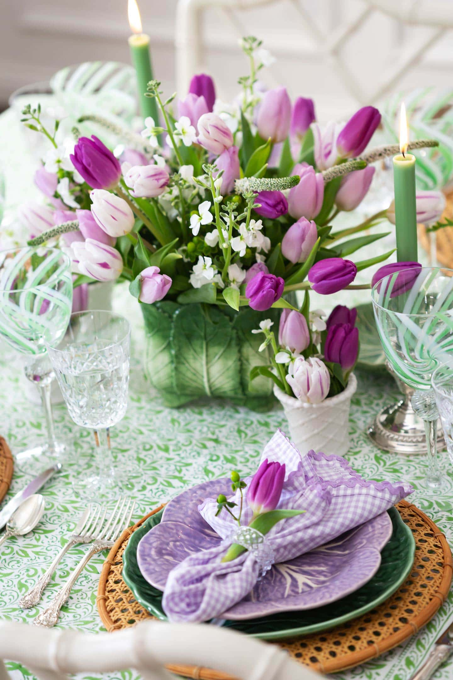 spring table with floral tulip centerpiece.