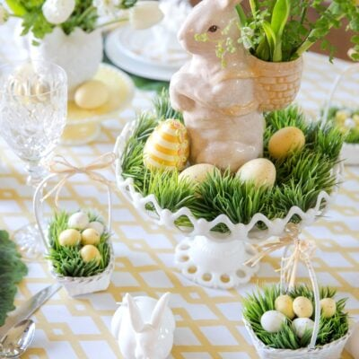 Easter table decor with bunny centerpiece and real grass