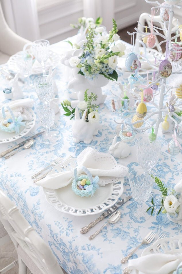 Blue and White Easter Tablescape