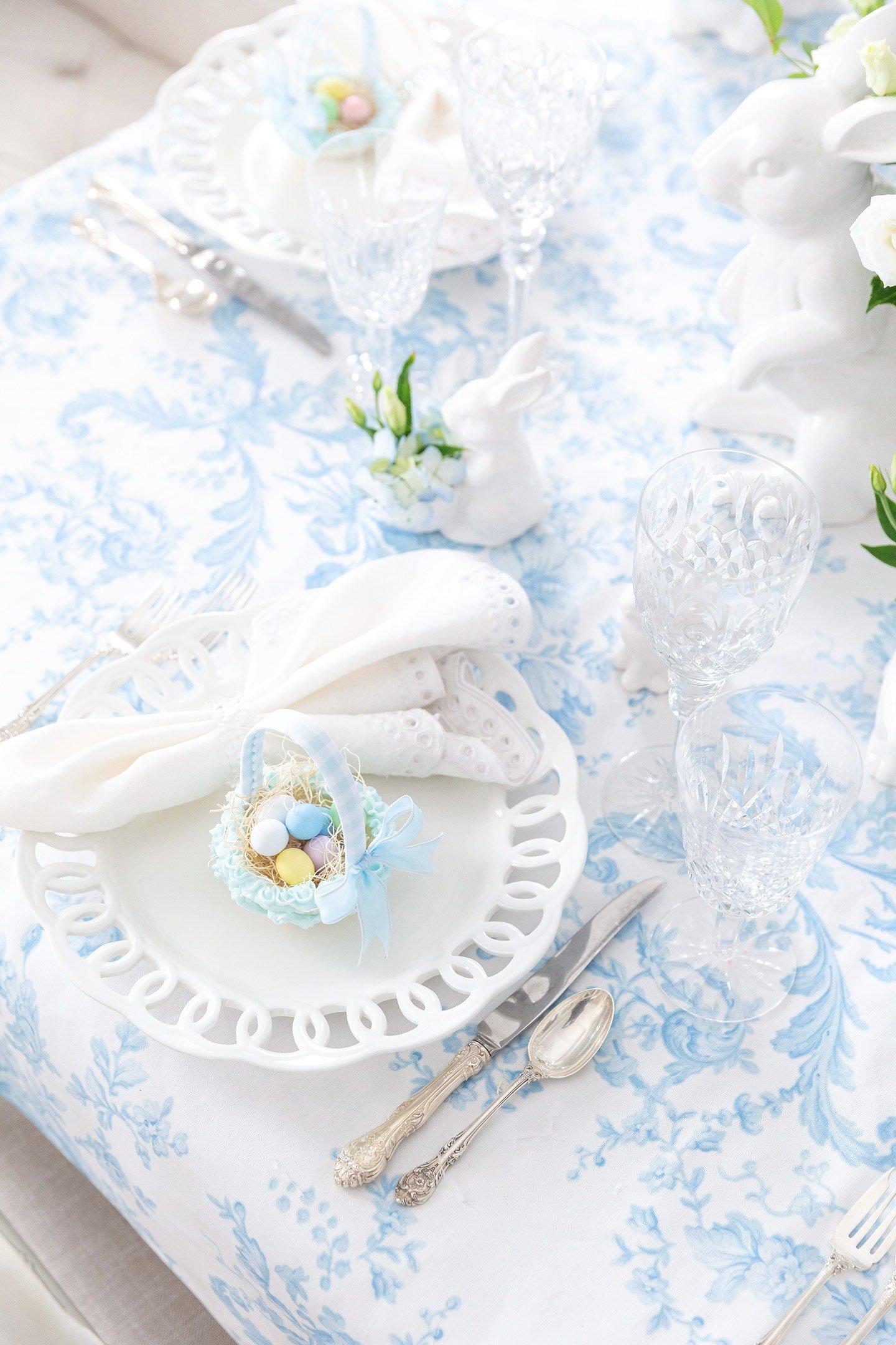 White lattice Easter place setting