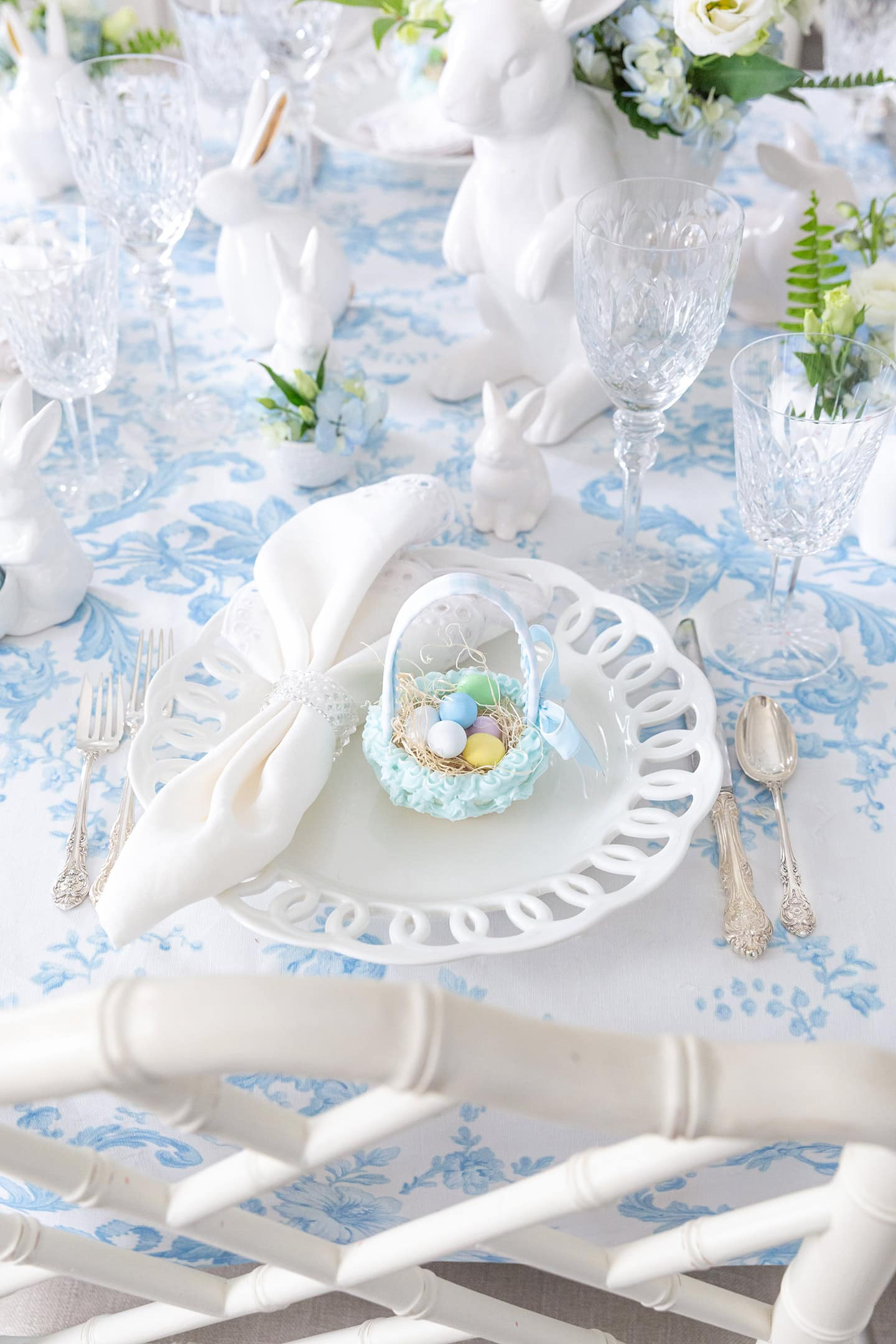 Easter table setting with sugar baskets