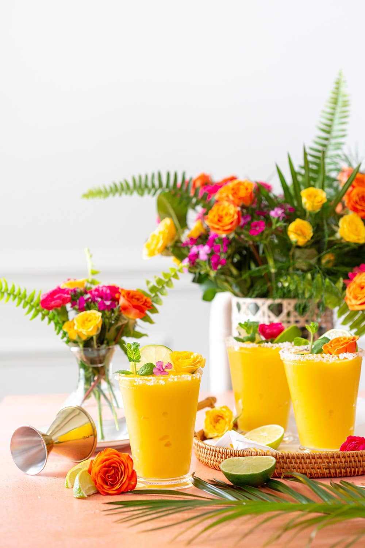 Frozen Mango Margaritas for a party