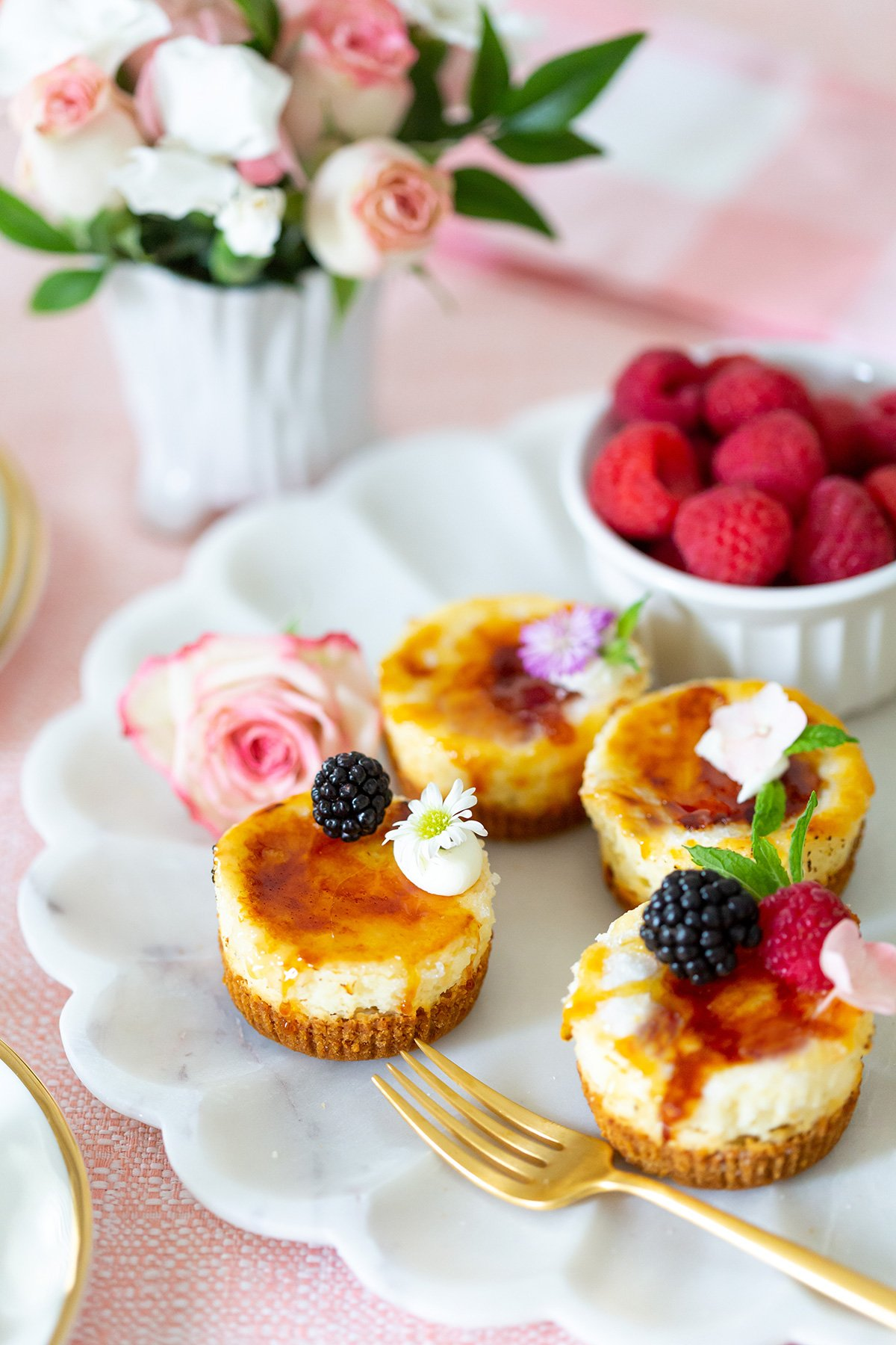 Mini Crème Brulee Cheesecakes for Mother's day