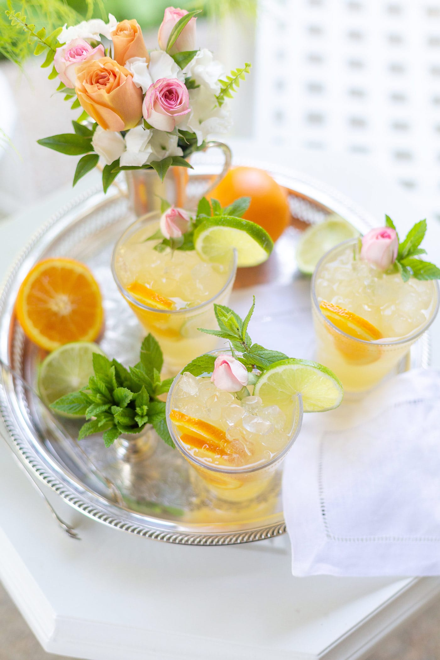 Mint Julep Punch on a Silver Tray for Kentucky Derby