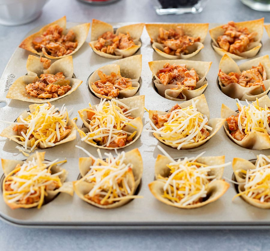 Nacho Cup Appetizers in Wonton Wrappers