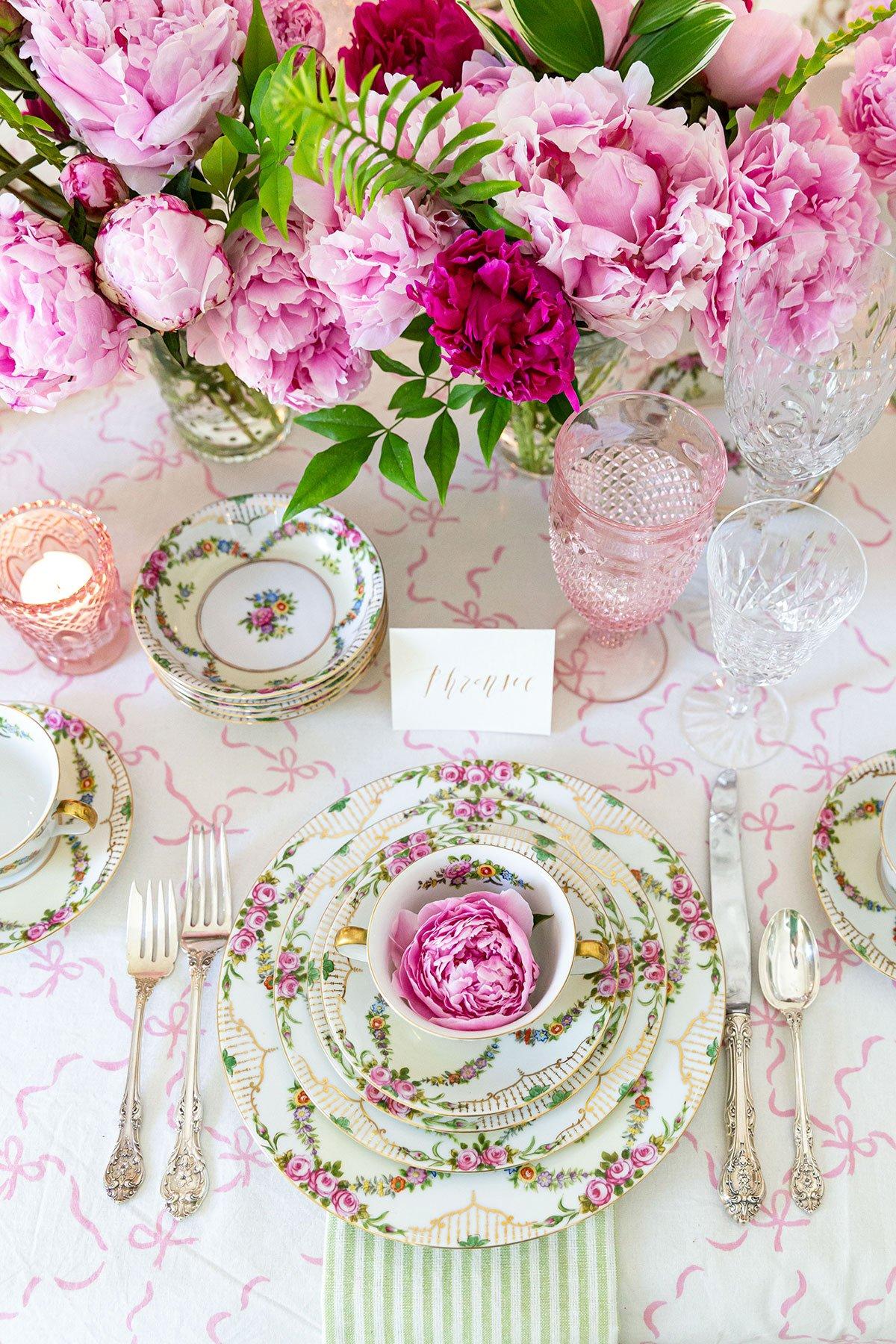 Pink Floral Tea Party Tablescape