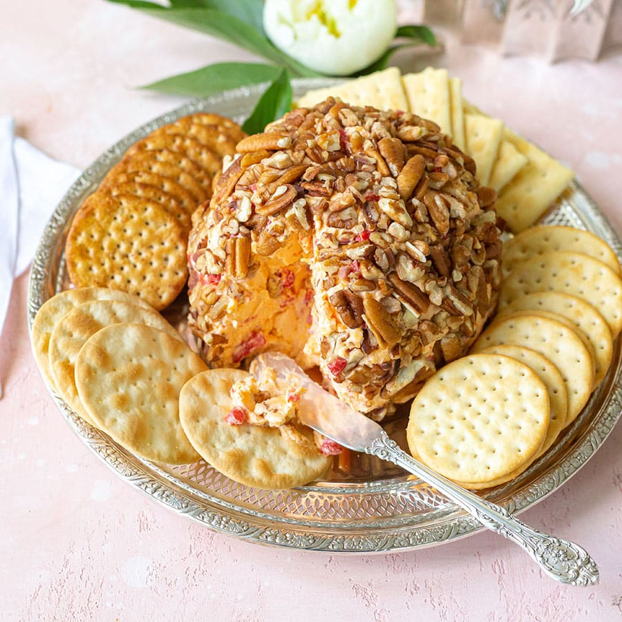 Pimento Cheese Ball Appetizer with Crackers