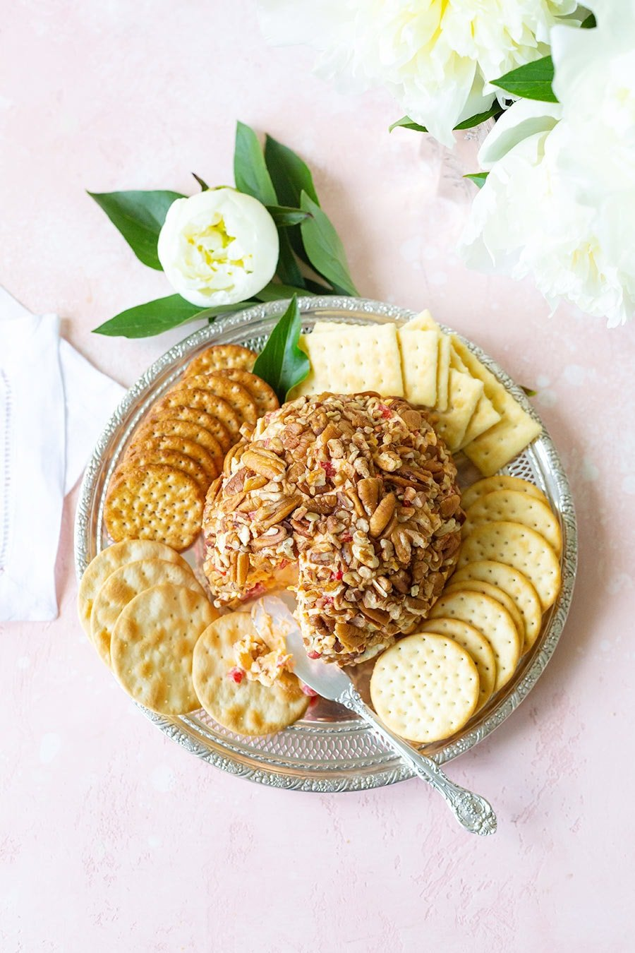 Pimento Cheese Ball with Crackers