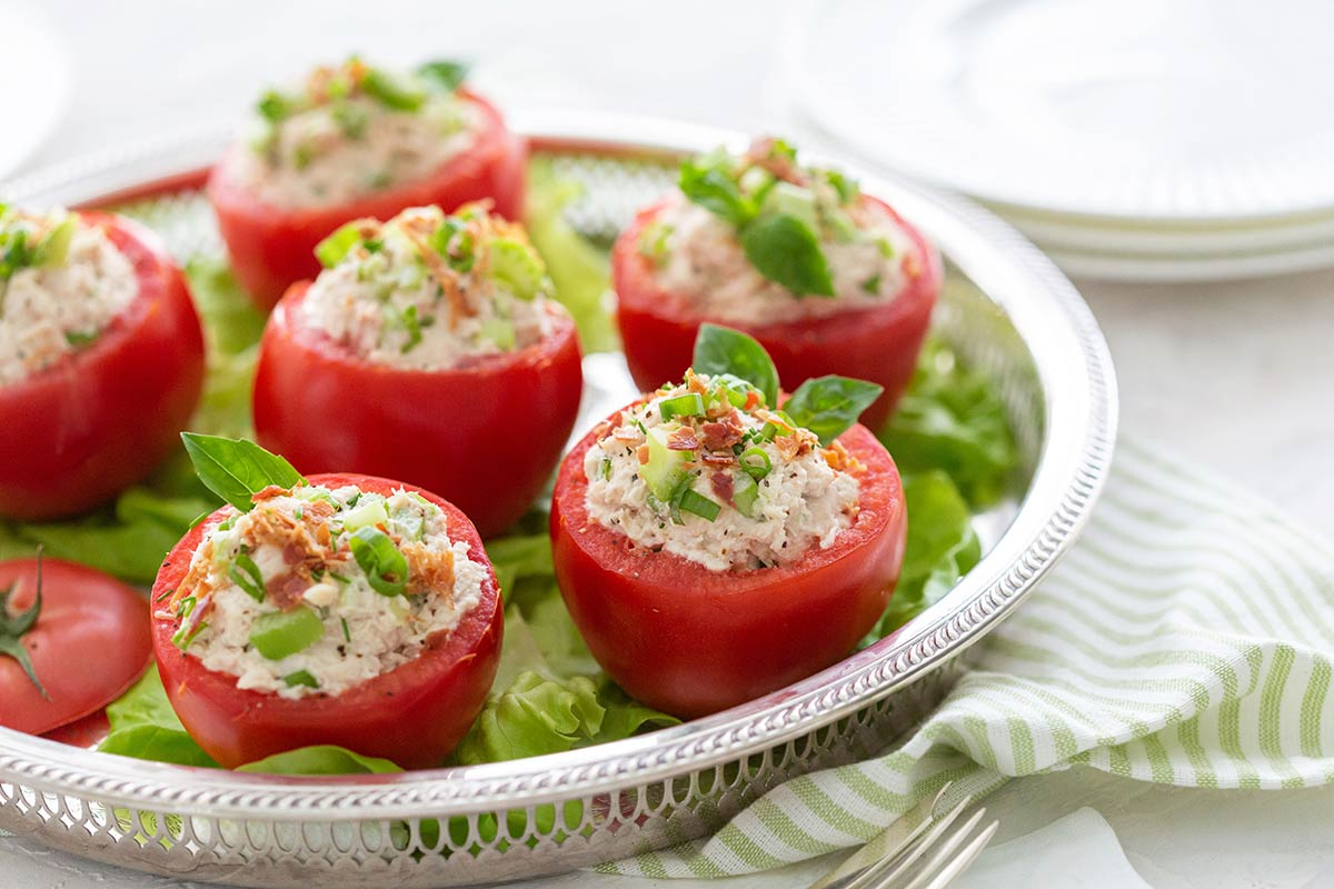 Chicken Salad Stuffed in Tomatoes
