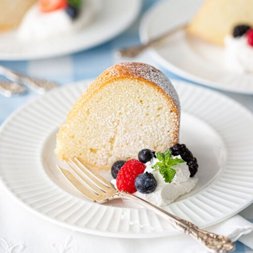 Southern Cream Cheese Pound Cake Slice with Berries