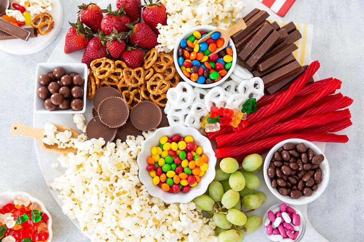 movie night snacks on a tray