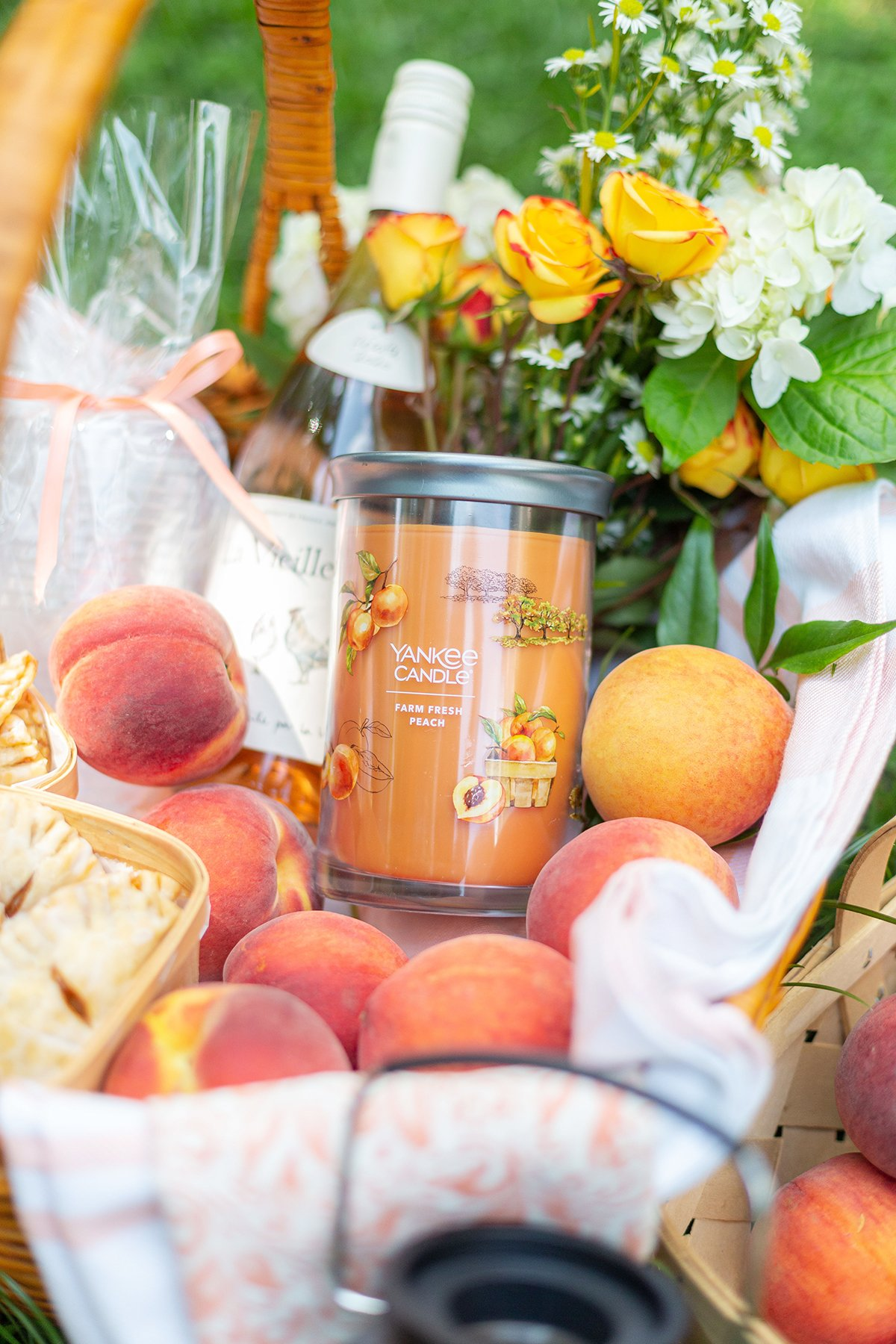 Peach Candle and Picnic