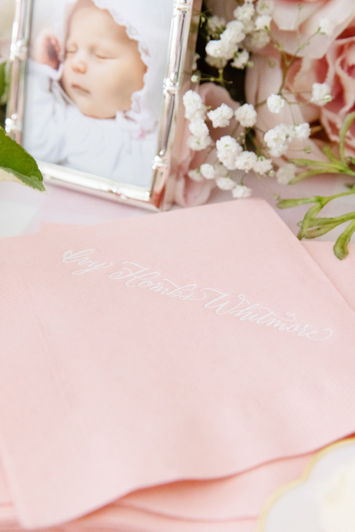 Pink and White Calligraphy Napkins