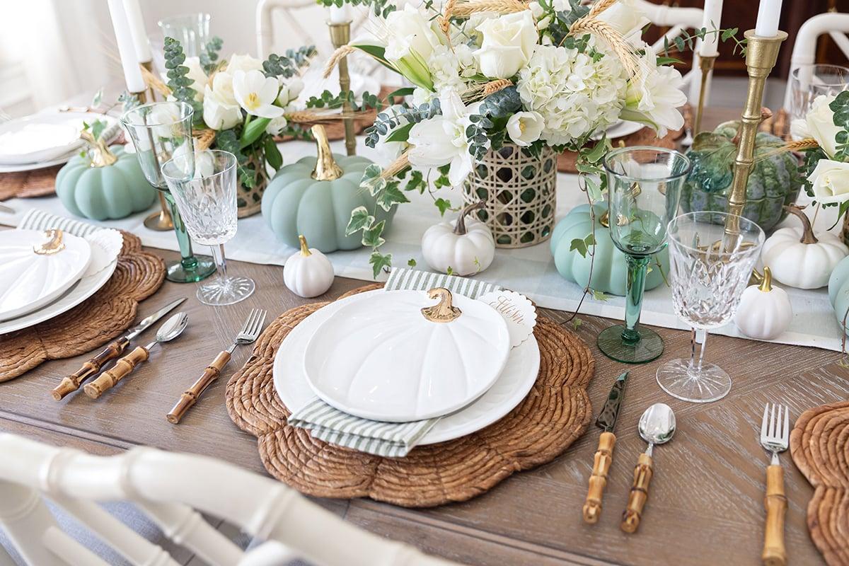 Sage Green & White Fall Tablescape