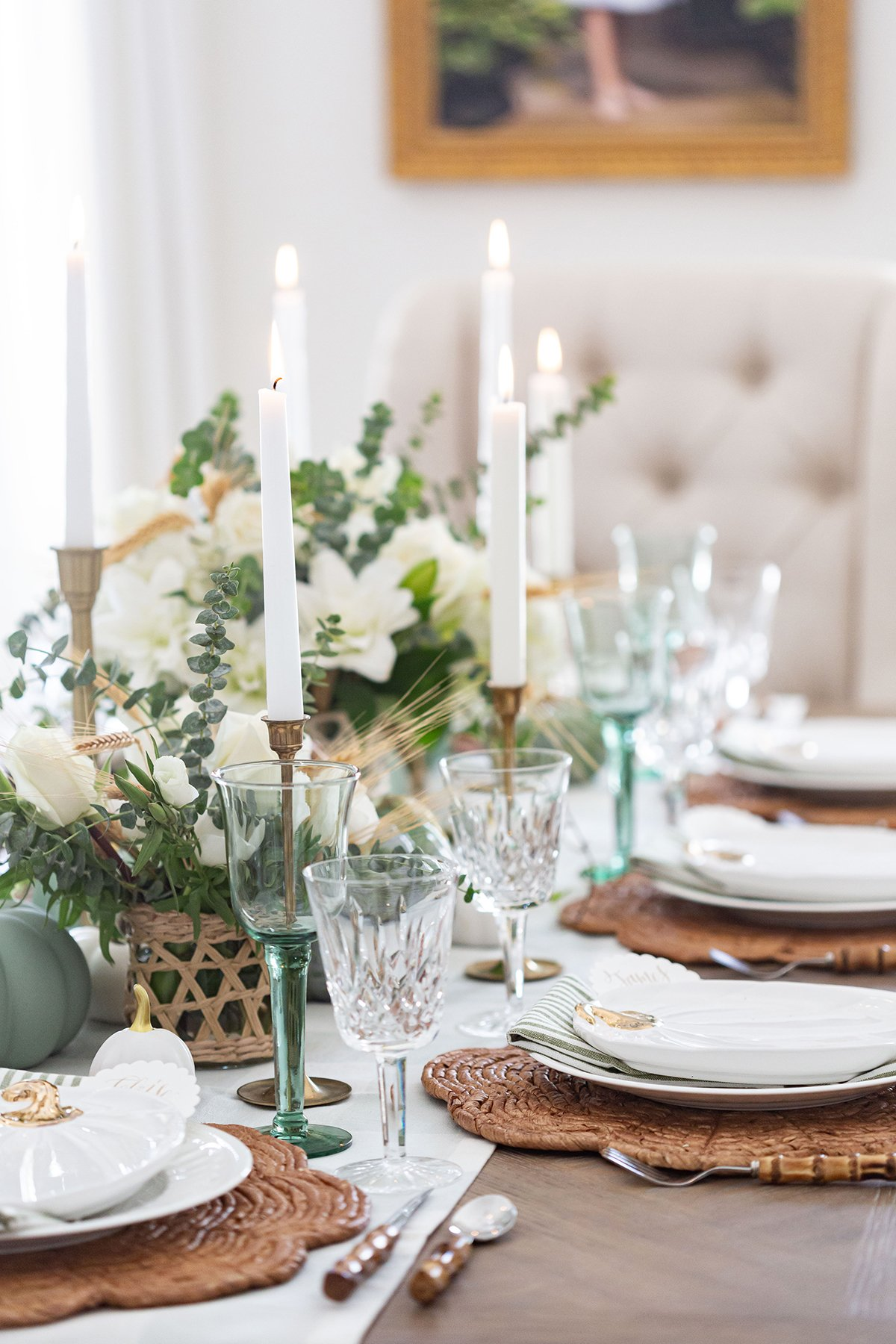 Green and White Tablescape for Fall