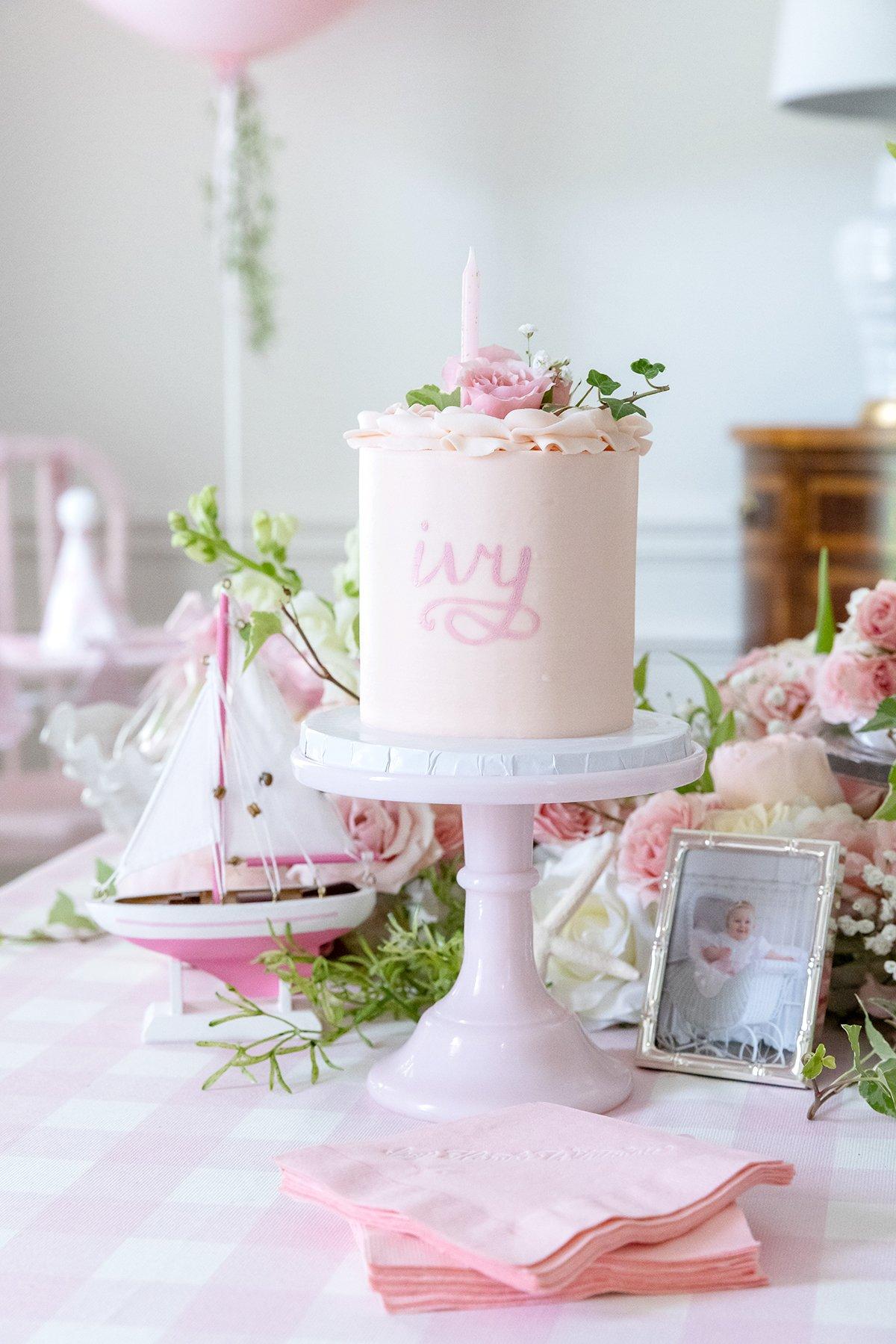 Pink 1st Birthday Party Smash Cake
