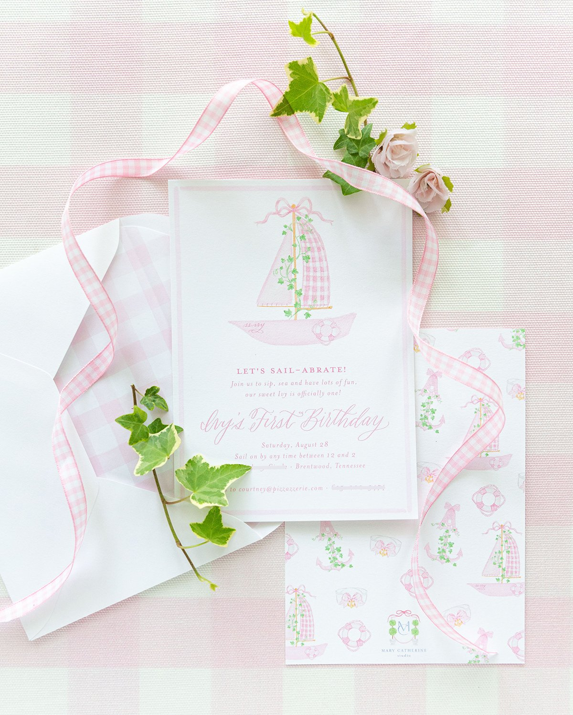 Pink 1st Birthday party invitation